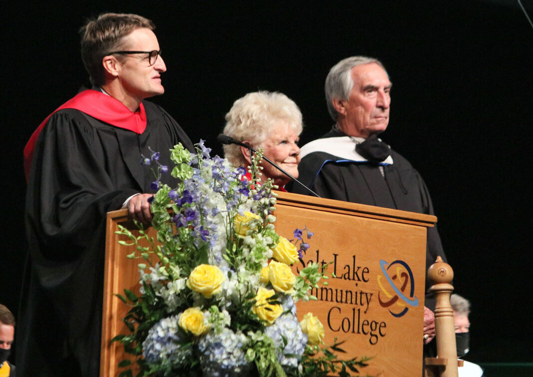 The Taylors receive doctorate at the podium