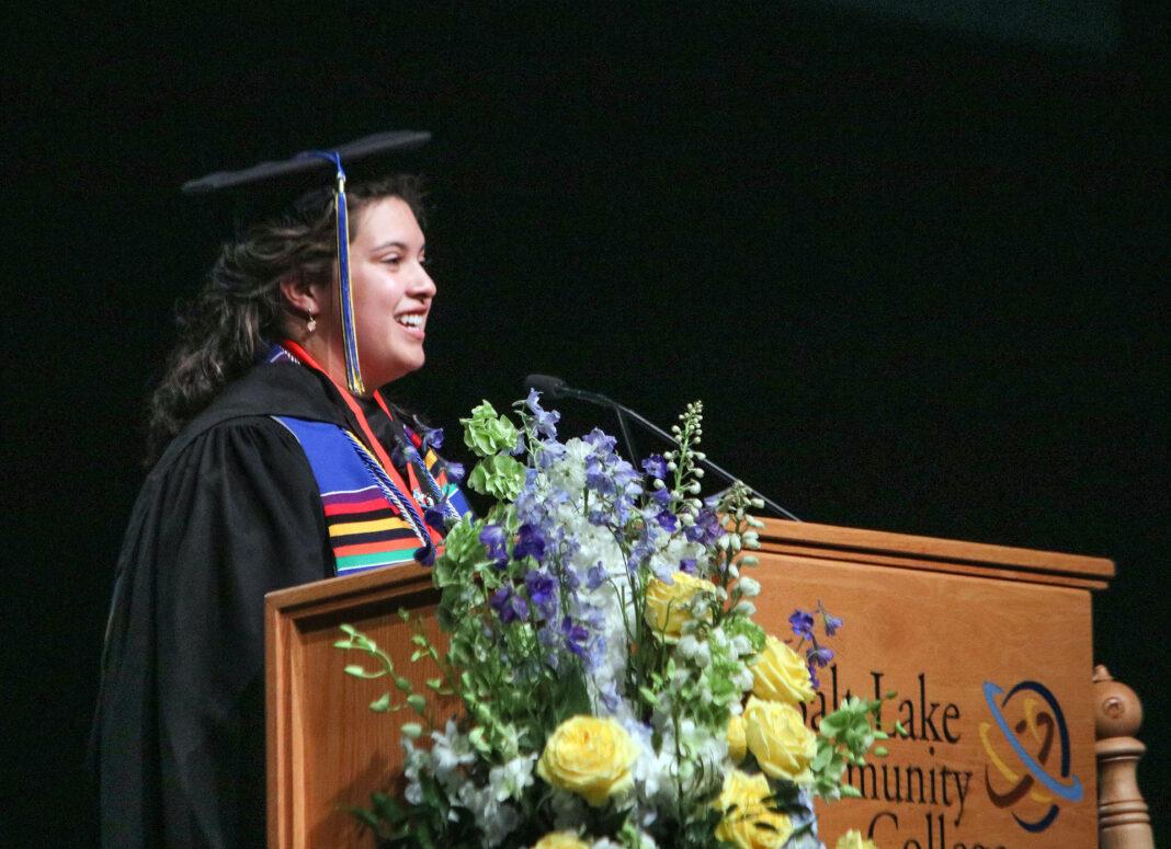 Emily Ann Hernandez Alzamora at the podium