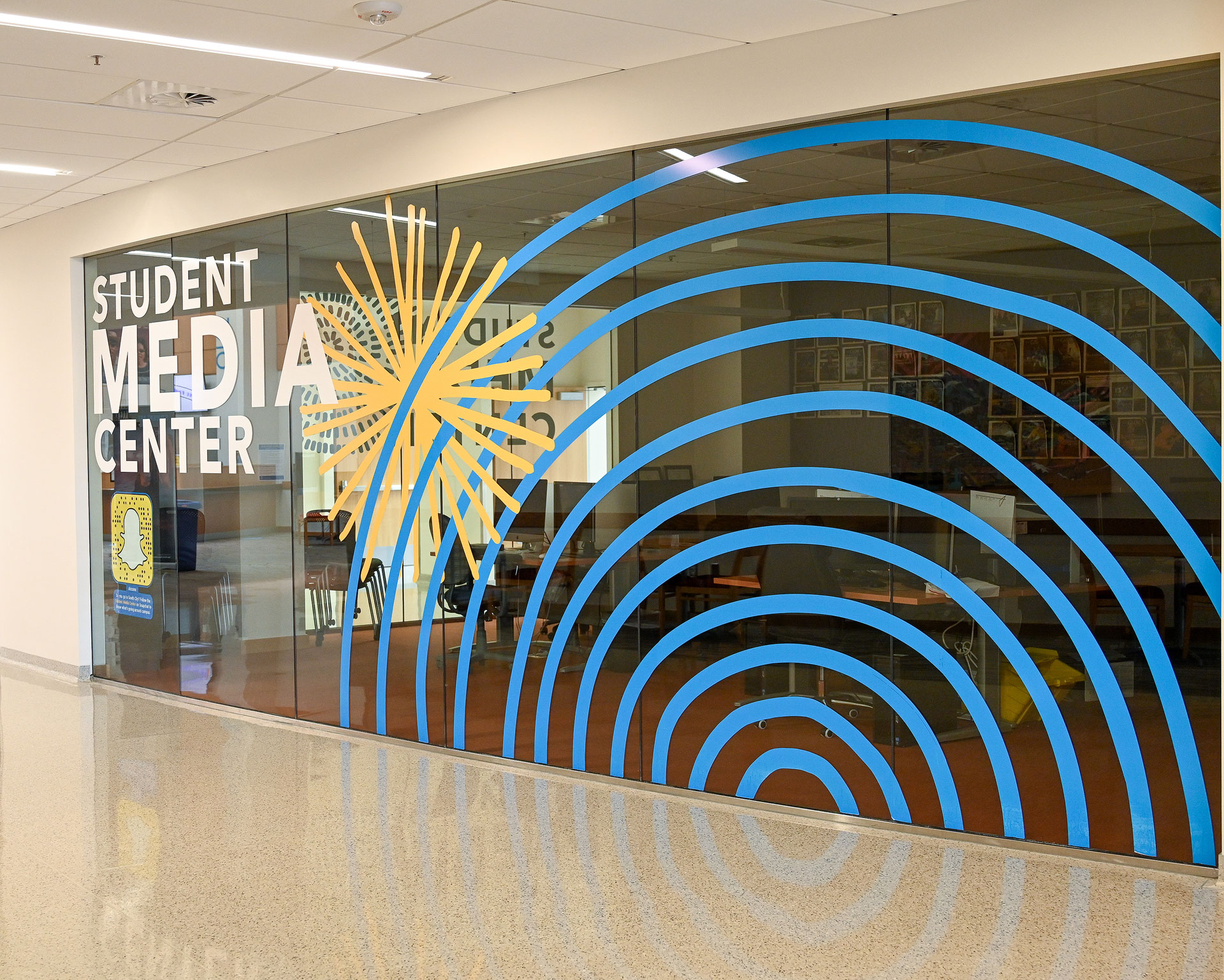 Student Media Center window graphics at South City Campus