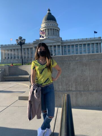 Maria Pastrana Lopez stands in front of Utah State Capitol
