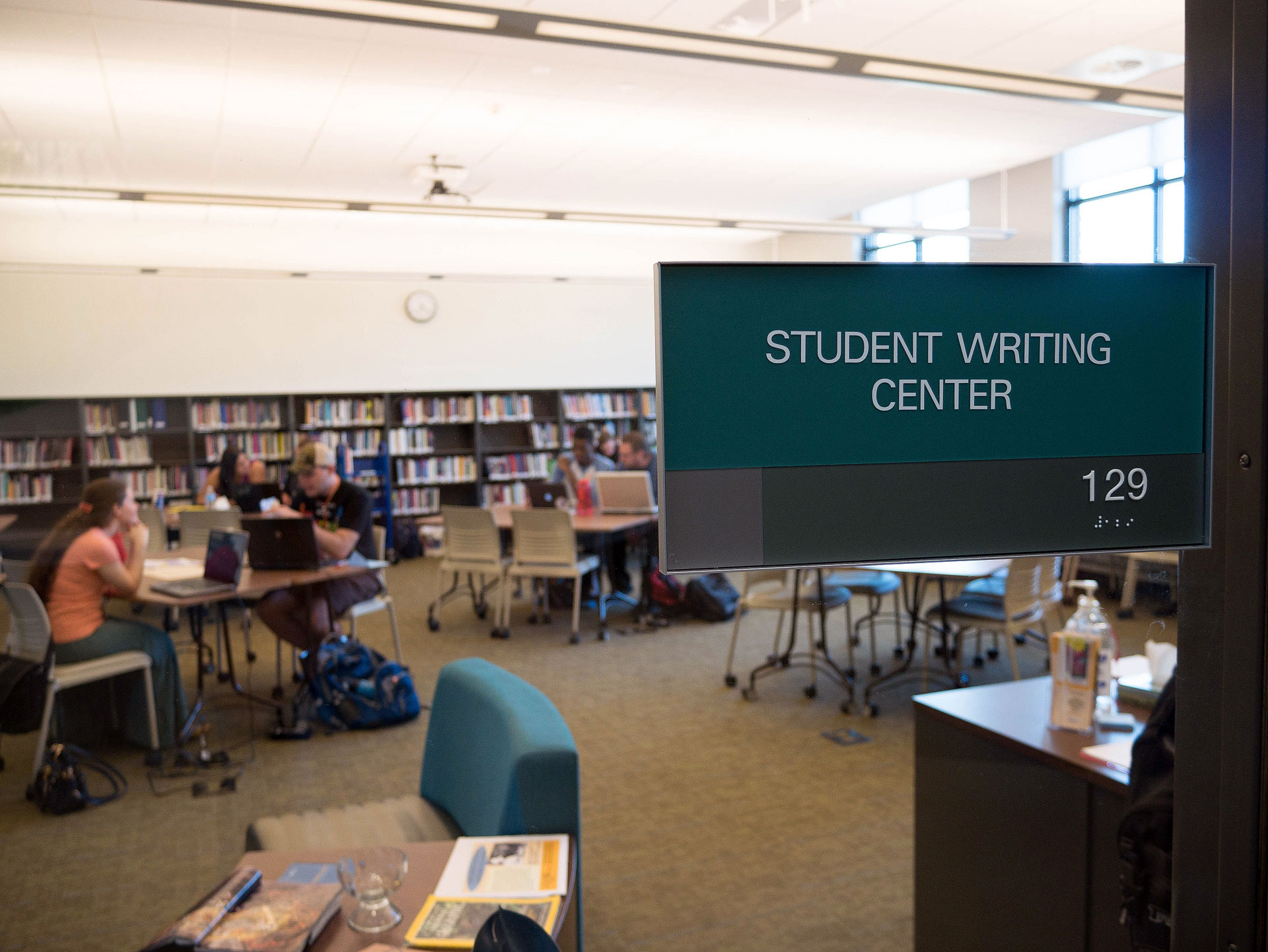 Old Student Writing Center sign