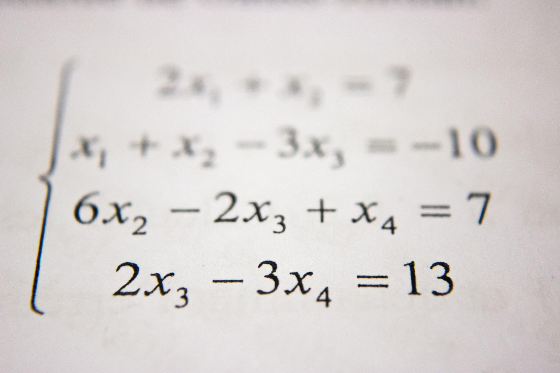 Row of algebra equations comes into focus