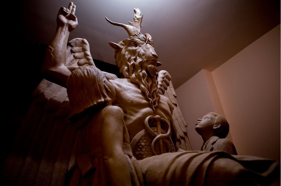 Side view of Satanic Temple statue