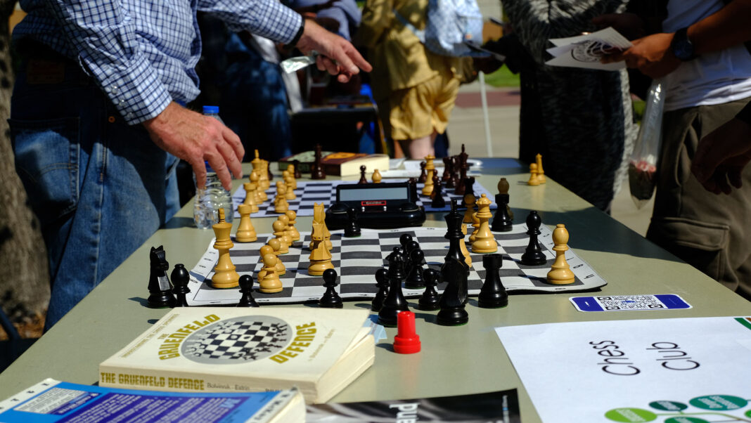 Active chess game on a table