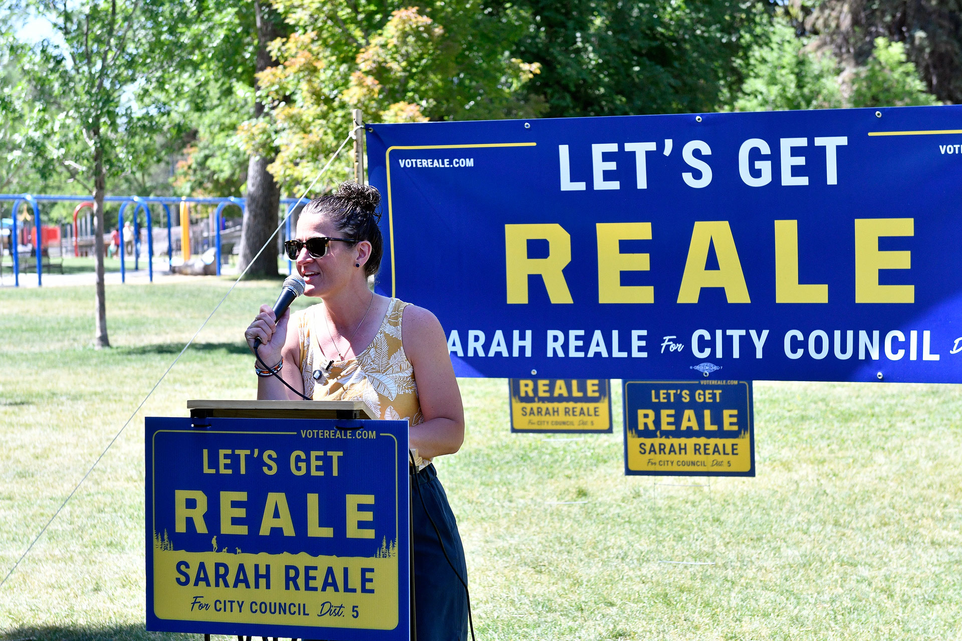 Sarah Reale speaking at her campaign launch event