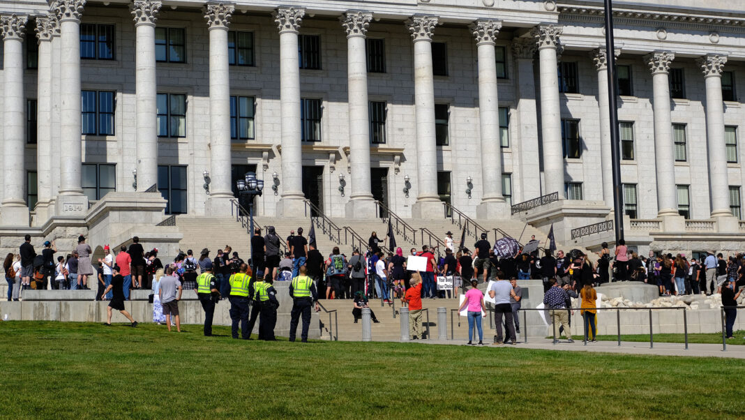 Large crowd outside Utah State Capitol