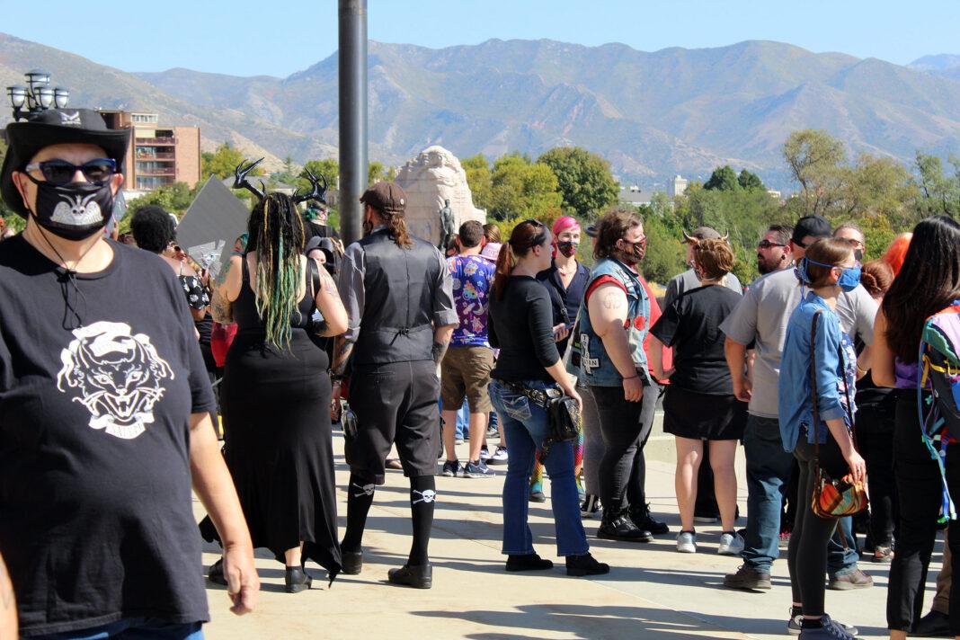 Crowd gathers outside in Salt Lake City