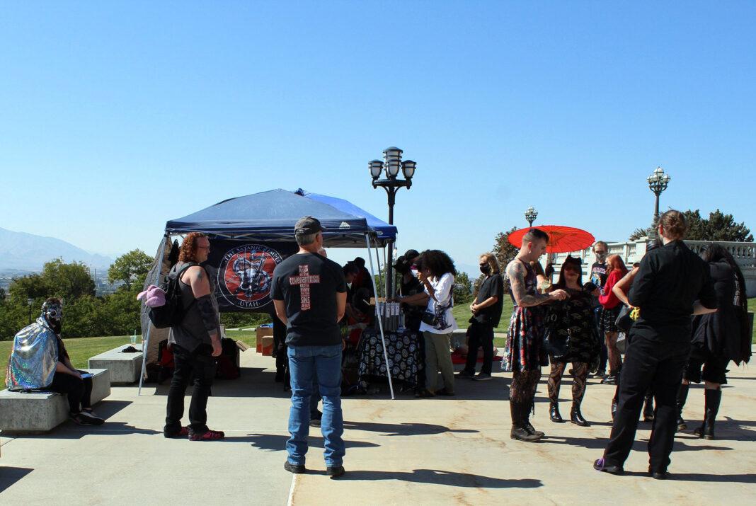 People gather near merchant tents