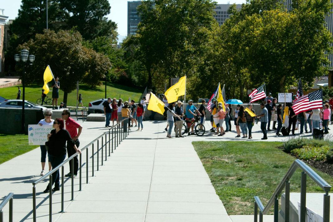 Pro-life demonstrators wave flags