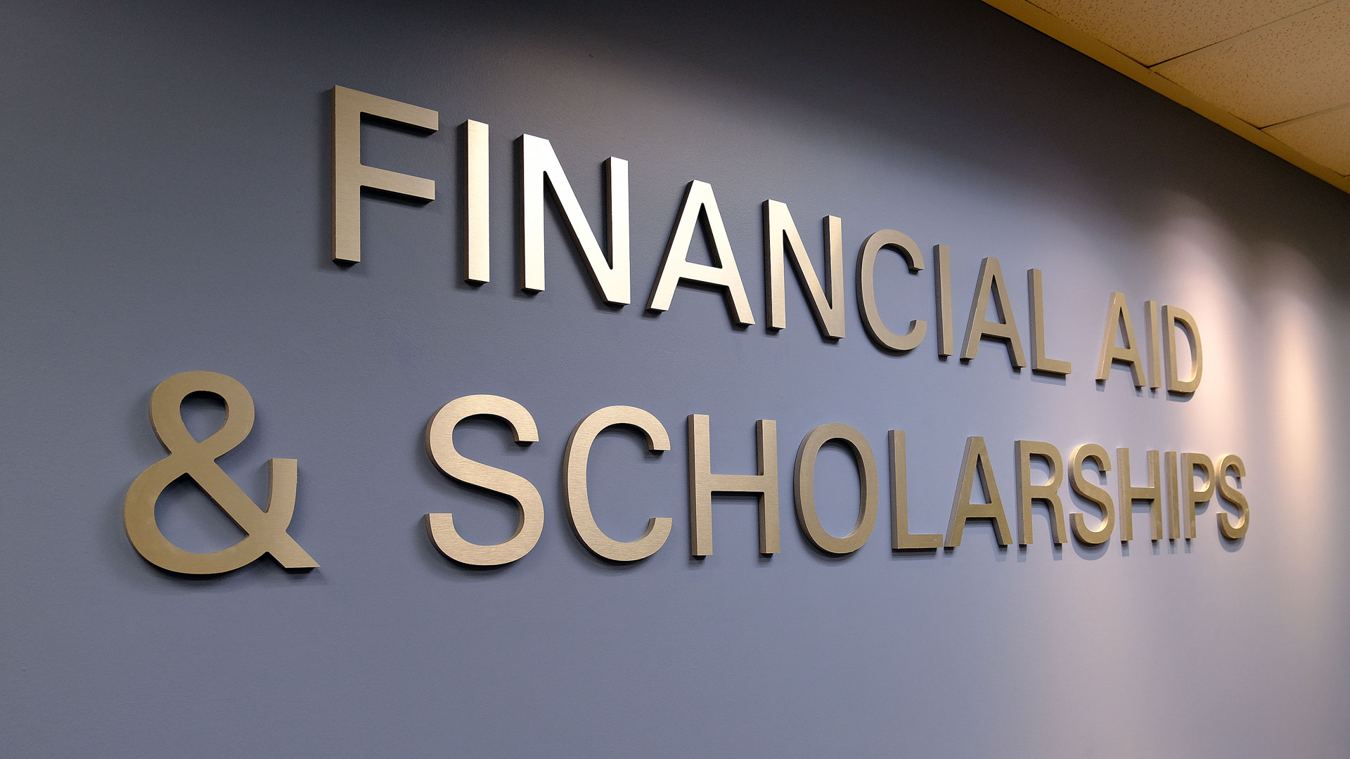 Financial Aid & Scholarships wall lettering
