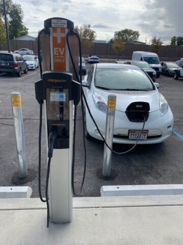 Car plugged in to EV charger at Redwood
