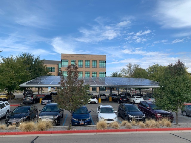 South view of solar carport at Redwood