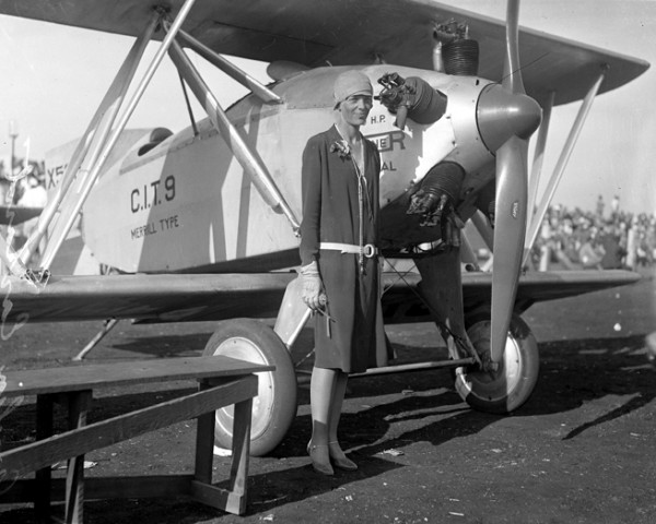 Amelia Earhart standing by her plane in Los Angeles in the year 1928.