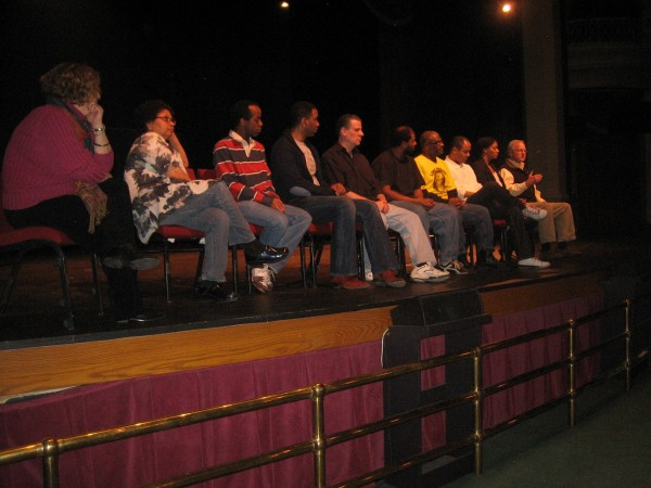 Cast and Director of Miss Evers' Boys listen to Jeff Botkin