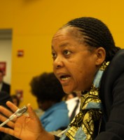 Photo of a woman from Africa addressing the UN panel