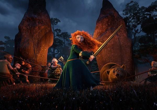 "Merida wields a sword in the Disney movie ""Brave"""