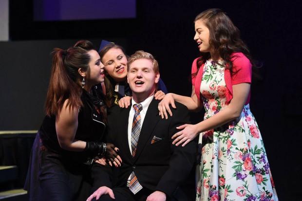 Harland Eldredge as Robert with three girlfriends