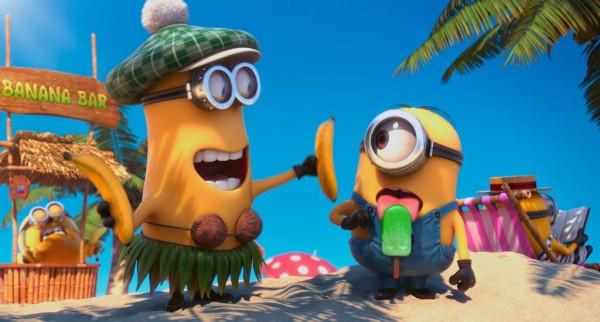Minions having fun at the banana bar