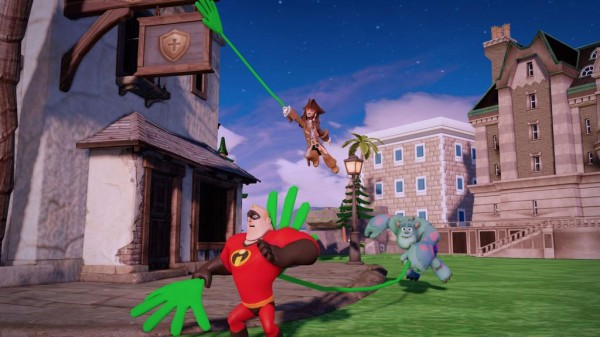 Screenshot from Disney Infinity featuring Mr. Incredible, Jack Sparrow and Sully.