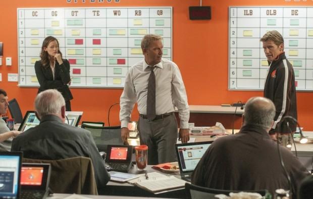 Jennifer Garner (left), Kevin Costner and Denis Leary (right) in 'Draft Day'