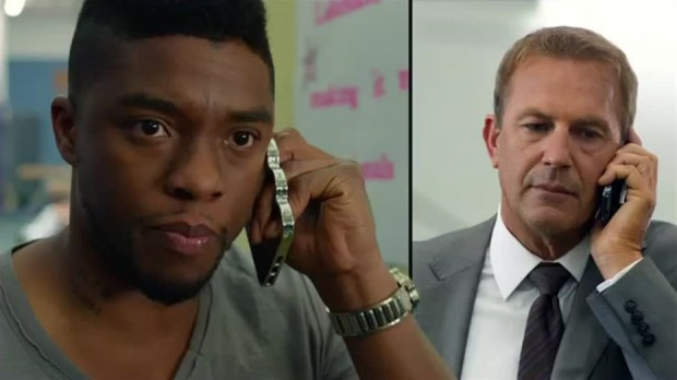 Still from Draft Day featuring Kevin Costner and Chadwick Boseman.