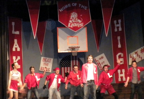 "The cheerleaders and basketball team in Off Broadway Theatre's ""Gleek School Musical."""