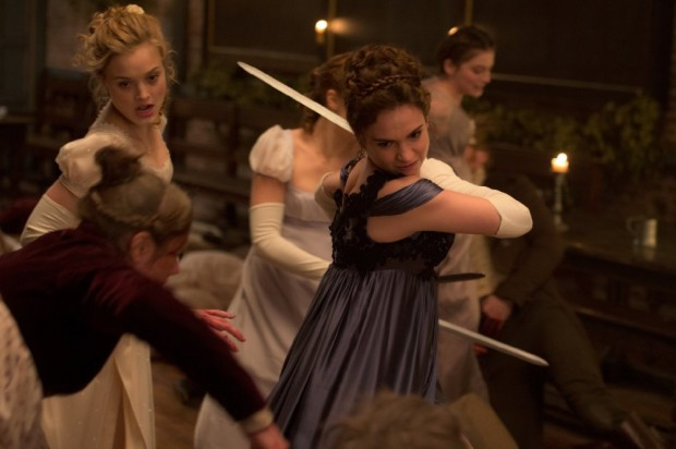 """Still of Bella Heathcote and Lily James in """"Pride and Prejudice and Zombies"""""""