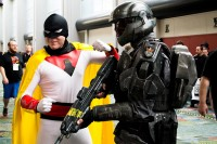Space Ghost, left, and a 'Halo' Spartan