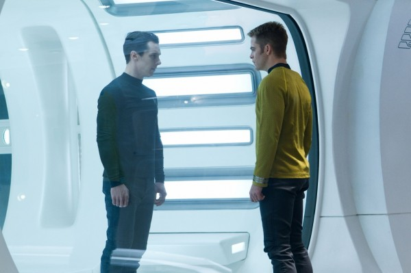 Still from Star Trek Into Darkness featuring Chris Pine and Benedict Cumberbatch