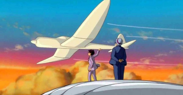 Still from The Wind Rises where Jiro talks with his idol Caproni in the dream world.