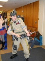 A fan dressed up as a Ghostbuster