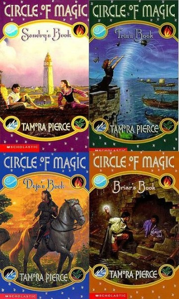 The US covers of the books in the Circle of Magic quartet.
