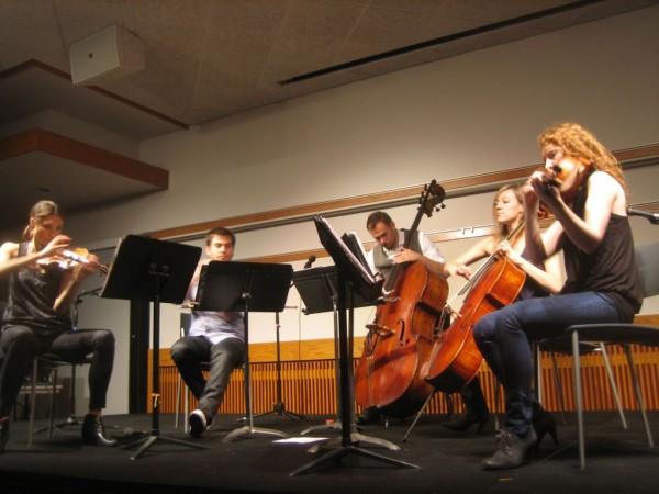 Violinists Sarah Whitney and Sami Merdinian, double bassist Louis Levitt, Cellist Laura Metcalf, and Violist Angela Pickett