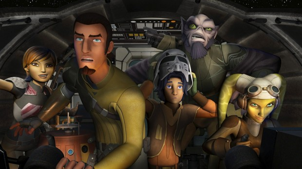The main characters of Star Wars Rebels from left to right: Sabine (Tiya Sircar), Chopper, Kanan (Freddy Prinze Jr.), Ezra (Taylor Gray), Zeb (Steve Blum), and Hera (Vanessa Marshall)