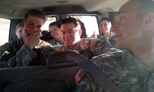 Advanced party of cadets in the vehicle