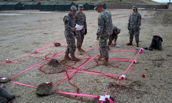 Cadets building a terrain model
