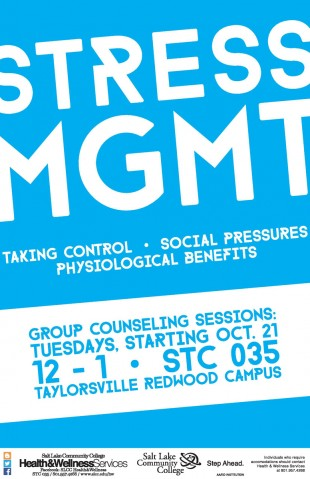 A flyer for the Stress Management program offered by the Health and Wellness Center