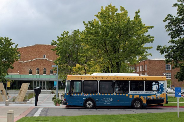 B-Line bus parked outside South City Campus
