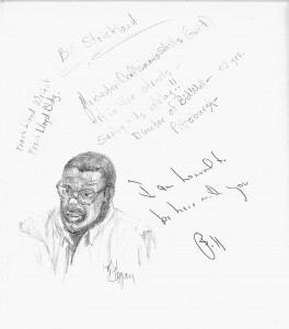 A sketch of speaker Bill Strickland by student Karen Hogan.