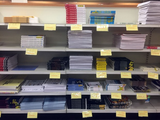 Textbooks in the bookstore