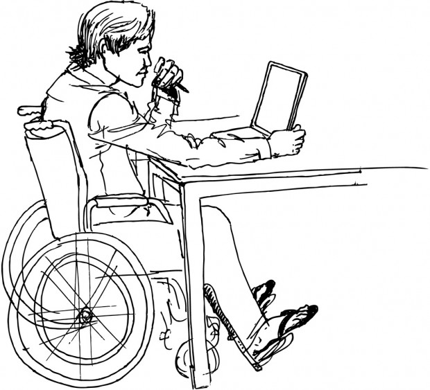 Rendering of a man in wheelchair using a laptop