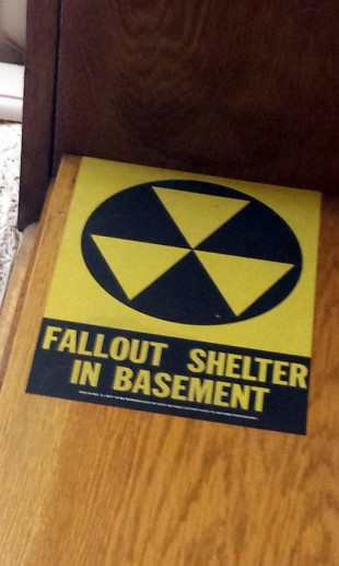 """Fallout shelter in basement"" sign"