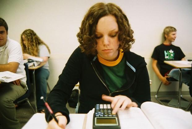 Female college student in class