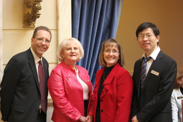 Fulbright Scholar-in-Residence Dr. Baohua Wang (far right) with college and local dignitaries