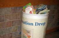 A full donation bin at SLCC