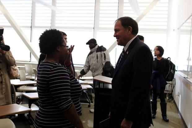 Gov. Herbert talks to a student