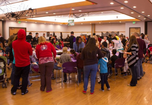 Kids and families of both student life and faculty of SLCC enjoyed a morning of arts and candy face stuffing.