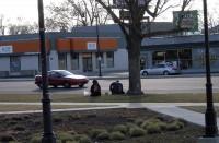 Homeless couple eating
