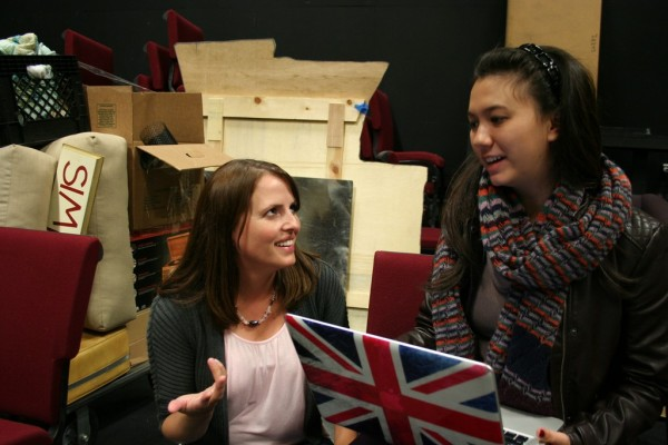 Director, Julie Heaton (left), consults with props coordinator, Juliet Cross about the set for The Curious Savage.