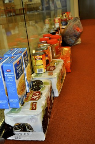Donated macaroni and cheese, black beans and other items
